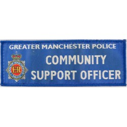 Greater Manchester Police Community Support Officer Rectangle + Crest with Queen Elizabeth's Crown. Woven UK Police or Prison in