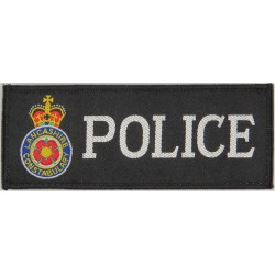 Lancashire Constabulary - Black Rectangle + Crest 132mm X 51mm with Queen Elizabeth's Crown. Embroidered UK Police or Prison ins