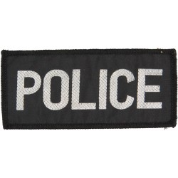 Police (Silver Lettering On Black Rectangle) 110mm X 50mm  Woven UK Police or Prison insignia