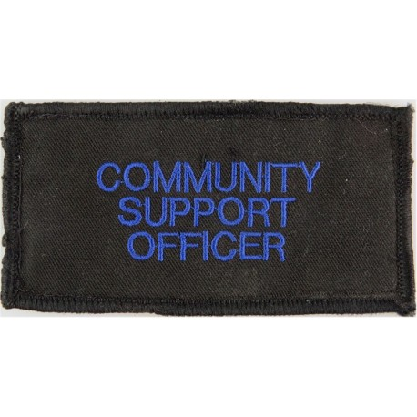 Community/ Support/ Officer (Blue On Black Rectangle 115mm X 60mm  Embroidered UK Police or Prison insignia