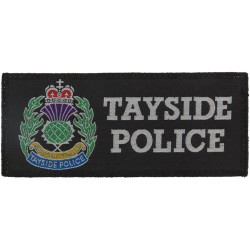 Tayside Police Badge (Scotland) - Rectangle + Crest 90mm X 47mm with Queen Elizabeth's Crown. Woven UK Police or Prison insignia