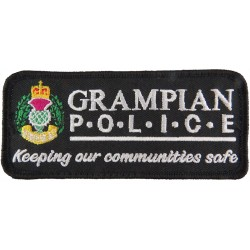 Grampian Police Pullover Badge (Scotland) Rectangle + Crest with Queen Elizabeth's Crown. Embroidered UK Police or Prison insign