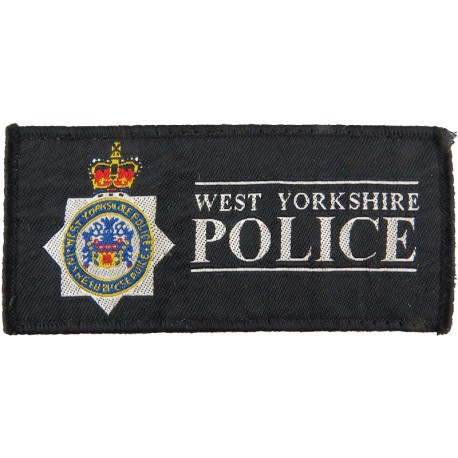 West Yorkshire Police - Rectangle + Crest 106mm X 50mm with Queen Elizabeth's Crown. Woven UK Police or Prison insignia