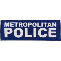 Metropolitan / Police (Words On Blue Rectangle) 12cm X 4cm  Printed UK Police or Prison insignia