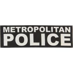 Metropolitan / Police (Words On Black Rectangle) 26cm X 8cm  Printed UK Police or Prison insignia