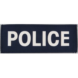 Police (White Lettering On Blue Rectangle) 10cm X 3.5cm  Printed UK Police or Prison insignia