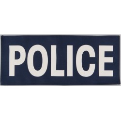 Police (White Lettering On Blue Rectangle) 25cm X 10.5cm  Printed UK Police or Prison insignia