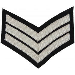 Police Sergeant Female Chevrons - Wide Braid - Small Silver Wire On Black  Bullion wire-embroidered UK Police or Prison insignia