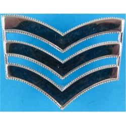 Police Sergeant's Chevrons - With Roped Edges 45.5mm Wide  Chrome-plated UK Police or Prison insignia
