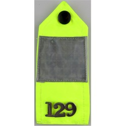 UK Police Constable Day-Glo Shoulder Strap With Chrome Number  Chrome-plated UK Police or Prison insignia