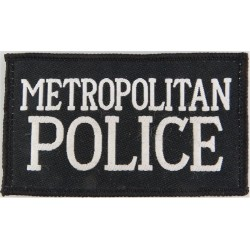 Metropolitan Police (White Words On Black Rectangle) 98mm X 58mm  Woven UK Police or Prison insignia