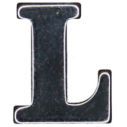 Police Shoulder / Collar Letter L   Chrome-plated UK Police or Prison insignia
