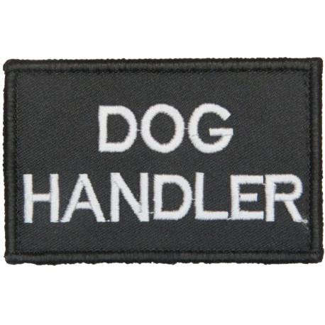 Dog / Handler (White Lettering On Black Velcro Rectangle)  Embroidered UK Police or Prison insignia