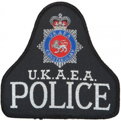 United Kingdom Atomic Energy Authority Constabulary Bell Shape + Crest with Queen Elizabeth's Crown. Woven UK Police or Prison i