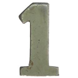 Police Shoulder / Collar Number 1   White Metal UK Police or Prison insignia