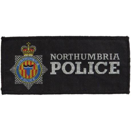 Northumbria Police Pullover Badge - 132mm X 60mm Rectangle (Lt Ring) with Queen Elizabeth's Crown. Woven UK Police or Prison ins