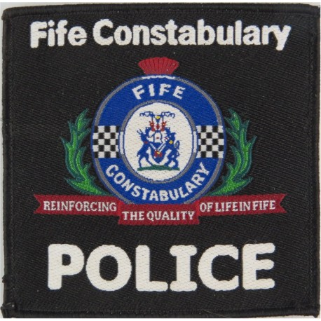 Fife Constabulary 'Police' Pullover Badge 90 X 90mm With Crest & Motto  Woven UK Police or Prison insignia