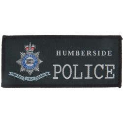 Humberside Police Pullover Badge + Crest + Scroll 120mm X 52mm with Queen Elizabeth's Crown. Woven UK Police or Prison insignia