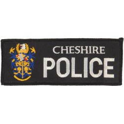 Cheshire Police - Black Rectangle + Crest 141mm X 55mm  Embroidered UK Police or Prison insignia