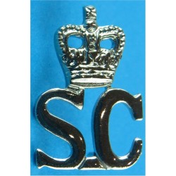 Crown Over SC (Special Constabulary) Collar Badge 22mm High with Queen Elizabeth's Crown. Chrome-plated UK Police or Prison insi
