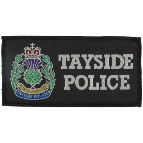 Tayside Police Badge (Scotland) - Rectangle + Crest 132mm X 68mm with Queen Elizabeth's Crown. Woven UK Police or Prison insigni