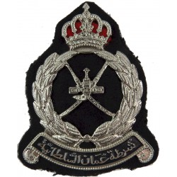Royal Oman Police Cap Badge On Black Back-Cloth  Chrome and enamelled Overseas Police, Prison or Corrections insignia