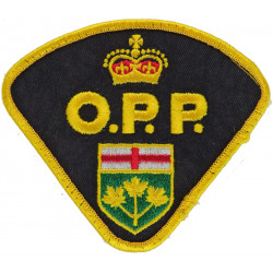 Canada: Ontario Provincial Police Arm Badge with Queen Elizabeth's Crown. Embroidered Overseas Police, Prison or Corrections ins