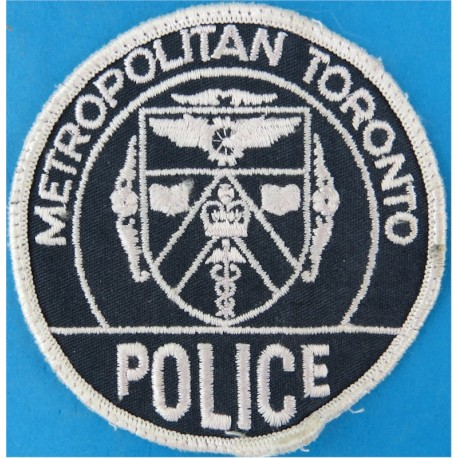 Canada: Metropolitan Toronto Police - White On Navy Circular Arm Badge  Embroidered Overseas Police, Prison or Corrections insig