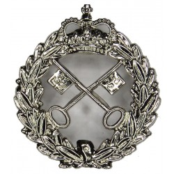 British Colonial Prisons (Jamaica & Barbados) Cap Badge 32mm High with Queen Elizabeth's Crown. Chrome-plated Overseas Police, P