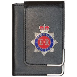 Bermuda Police Warrant Card Holder Leather With Badge with Queen Elizabeth's Crown. Chrome and enamelled Overseas Police, Prison