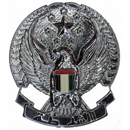 Abu Dhabi Police (Hawk With Stars) Enamelled Hat Badge  Chrome and enamelled Overseas Police, Prison or Corrections insignia