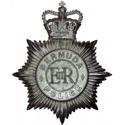 Bermuda Police - EiiR Centre Helmet Star with Queen Elizabeth's Crown. Chrome-plated Overseas Police, Prison or Corrections insi