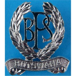 Botswana Prison Service Cap Badge - BPS In Wreath Over Botswana Scroll  Chrome-plated Overseas Police, Prison or Corrections ins
