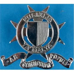 Malta Police - Pulizija Ta' Malta Cap Badge Post-1984  Chrome-plated Overseas Police, Prison or Corrections insignia