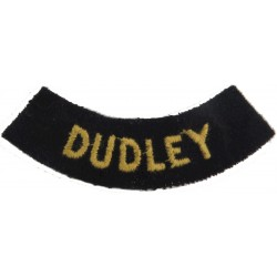 Dudley (Curved Chest Title) Yellow On Dark Blue  Embroidered Civil Defence