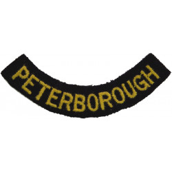 Peterborough (Curved Chest Title) Yellow On Dark Blue  Embroidered Civil Defence