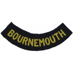 Bournemouth (Curved Chest Title) Yellow On Dark Blue  Embroidered Civil Defence