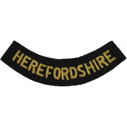 Herefordshire (Curved Chest Title) Yellow On Dark Blue  Embroidered Civil Defence