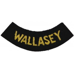 Wallasey (Curved Chest Title) Yellow On Dark Blue  Embroidered Civil Defence