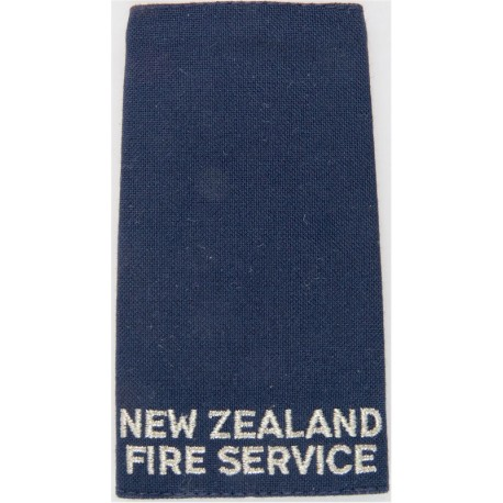 New Zealand / Fire Service - Slip-On Shoulder Slide Silver On Dark Blue  Lurex Fire and Rescue Service insignia