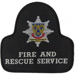 Shropshire Fire And Rescue Service Pullover Badge Bell Shape + Crest  Woven Fire and Rescue Service insignia