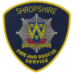 Shropshire Fire And Rescue Service Arm Badge Shield  Woven Fire and Rescue Service insignia