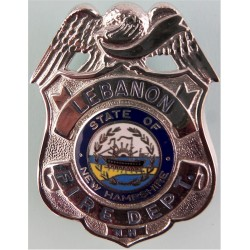 USA: New Hampshire: Lebanon Fire Department Shield + State Seal  Chrome and enamelled Fire and Rescue Service insignia