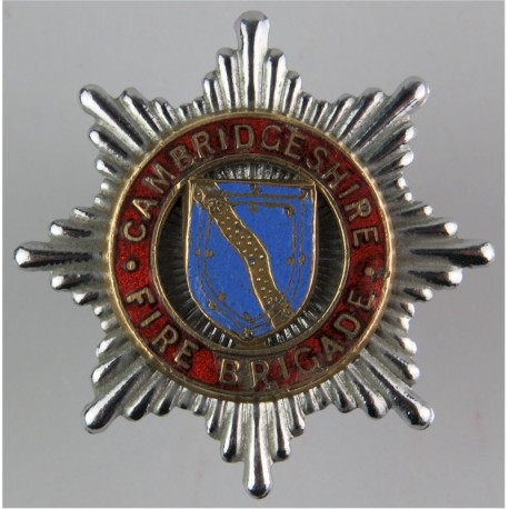 Cambridgeshire Fire Brigade - Slightly Chipped Cap Badge 1948-1965  Chrome, gilt and enamel Fire and Rescue Service insignia