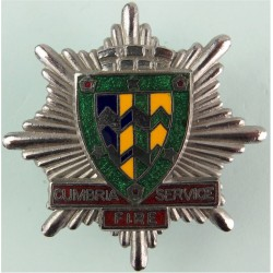Cumbria Fire Service - Large Shield Centre Cap Badge Post-1974  Chrome and enamelled Fire and Rescue Service insignia