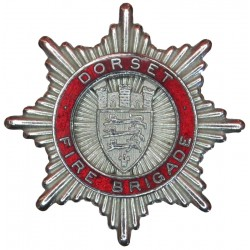 Dorset Fire Brigade Cap Badge Post-1954  Chrome and enamelled Fire and Rescue Service insignia