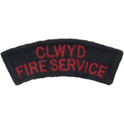 Clwyd Fire Service - Curved Shoulder Title 1974-1996  Embroidered Fire and Rescue Service insignia