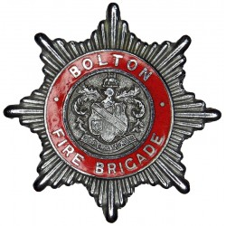 Bolton Fire Brigade Cap Badge 1948-1974  Chrome and enamelled Fire and Rescue Service insignia