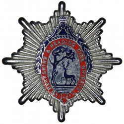 Berkshire & Reading Fire Brigade Cap Badge 1948-1974  Chrome and enamelled Fire and Rescue Service insignia