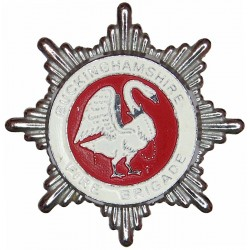 Buckinghamshire Fire Brigade (Thin Enamel Paint) Cap Badge Swan Type  Chrome and enamelled Fire and Rescue Service insignia
